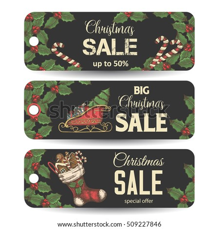 Christmas banners sale isolated on white. Hand-drawn symbols, sketch. Special Offer, up to 50%.