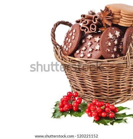 christmas basket full x-mas cookies  on a white background - stock photo