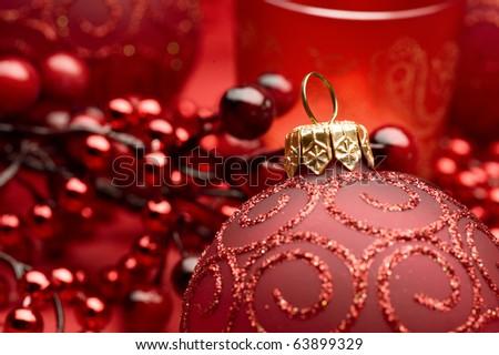 Christmas Bauble closeup - stock photo
