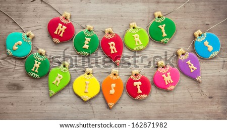 Christmas bauble cookies - stock photo