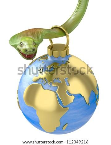 Christmas bauble hanging on cobra, Europe part, isolated on white background - stock photo