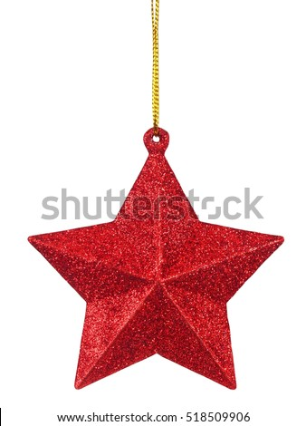 Christmas bauble hanging on white background