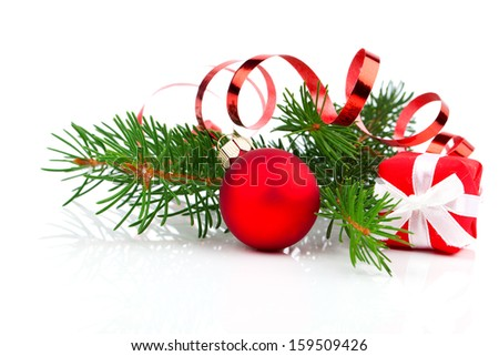 Christmas bauble with gift box and decorations, on white background. on white background - stock photo