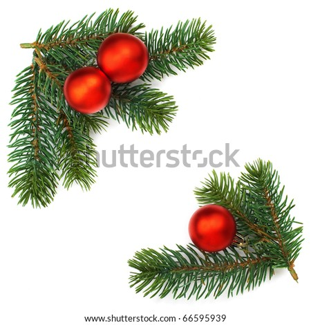 Christmas baubles and pine branches background, isolated.