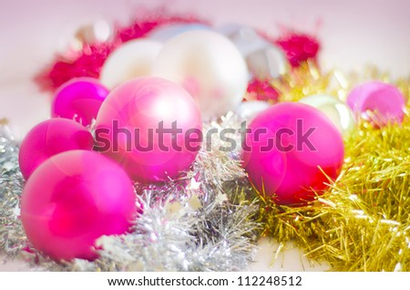 Christmas Baubles, Christmas Balls, Wintery Decorations. Selective focus