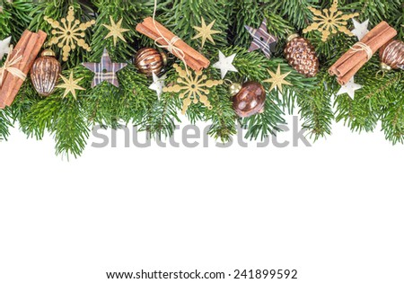 Christmas baubles, cinnamon, fir branches and stars/Christmas/decoration - stock photo
