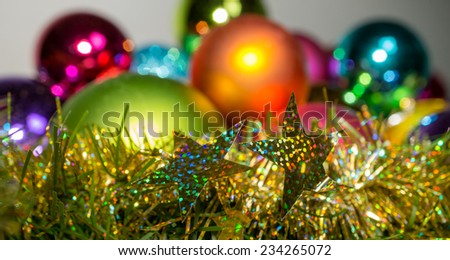 Christmas baubles in the background - stock photo