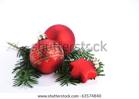 Christmas baubles isolated on a white background - stock photo