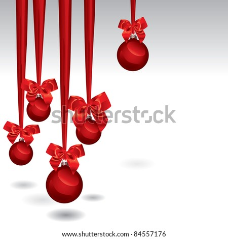 Christmas Baubles Isolated Over White With Space For Text. (in the gallery also available vector version of this image) - stock photo