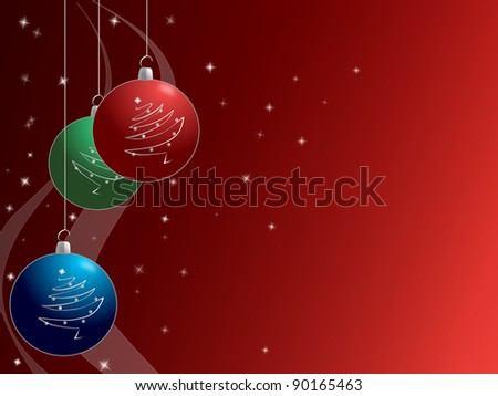 Christmas baubles on Festive Red Background