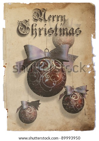 Christmas baubles  One big and three small Christmas baubles over vintage paper - stock photo