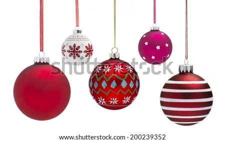 Christmas Baubles with a white background