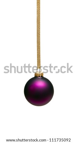 Christmas baubles with gold ribbon  isolated on white - stock photo