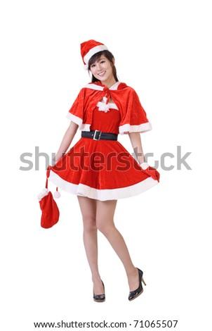 Christmas beauty of Asian, full length portrait isolated over white. - stock photo
