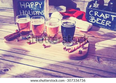 Christmas Beer Flight - stock photo