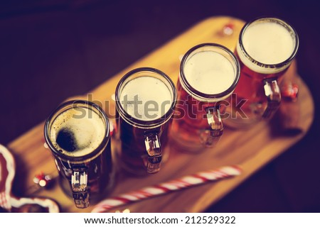 Christmas Beer Tasting - stock photo