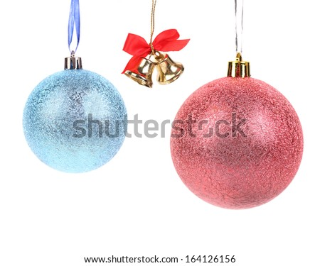 Christmas bell and ball decoration. Isolated on a white background. - stock photo