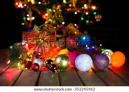 Christmas bell and Christmas ball with blur background on Christmas and New year night, blur select fosus