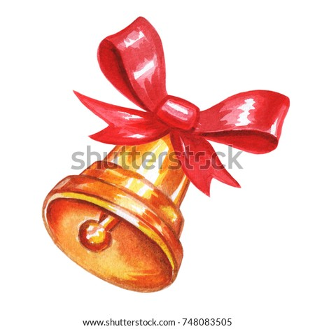 Christmas Bell Bow Watercolor Stock Illustration 748083505