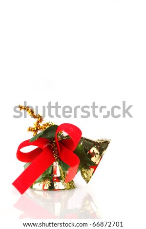 Christmas bell with red ribbon - stock photo