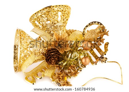 Christmas bells decoration isolated on white background.