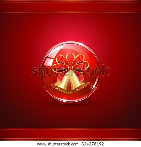 Christmas bells in sphere on red background, illustration. - stock photo