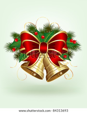 Christmas bells with holly and bow on green background, illustration - stock photo
