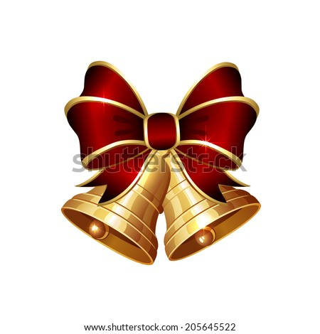 Christmas bells with red bow isolated on white background, illustration.