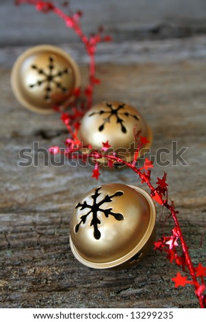 Christmas bells with red star ribbon - stock photo
