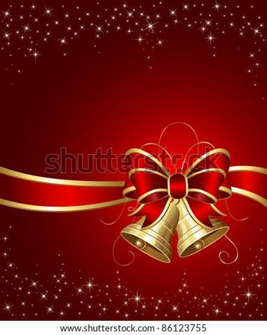 Christmas bells with ribbon on red background, illustration - stock photo