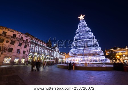 Christmas Big Tree in Braga City, Portugal - stock photo