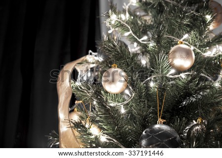 Christmas black tree decoration  - stock photo