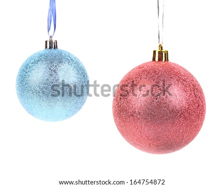 Christmas blue and pink ball decoration. Isolated on a white background. - stock photo