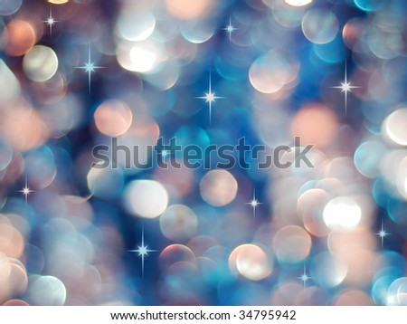 Christmas blue and red lights background with little stars - stock photo