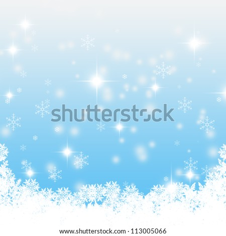 Christmas blue background with snow flakes - stock photo