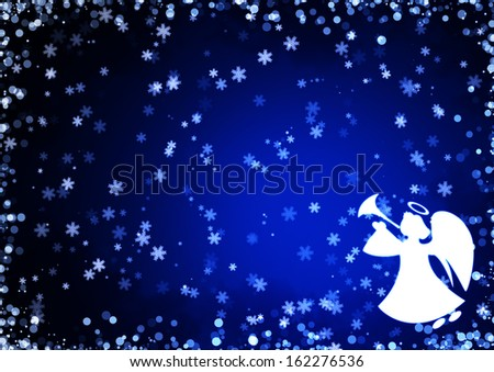 Christmas blue background with snowflakes and angel - stock photo