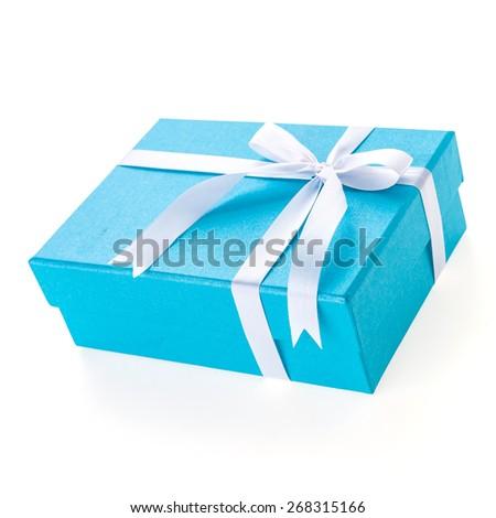Christmas Blue gift box isolated on white background - stock photo
