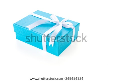 Christmas Blue gift box isolated on white background