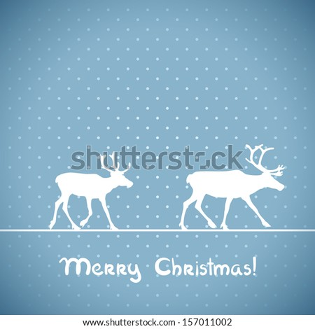 Christmas blue greeting card with deers. Raster version.