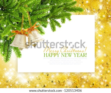 Christmas bluebells and branches of spruce are on festive background a postal - stock photo