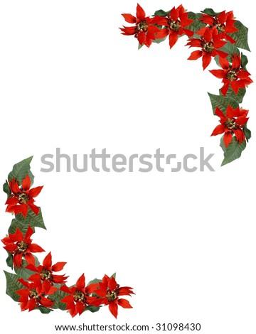 Christmas holiday border frame red poinsettia stock photo for Poinsettia christmas tree frame