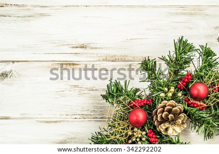 Christmas border from christmas wreath useful as christmas decoration. - stock photo
