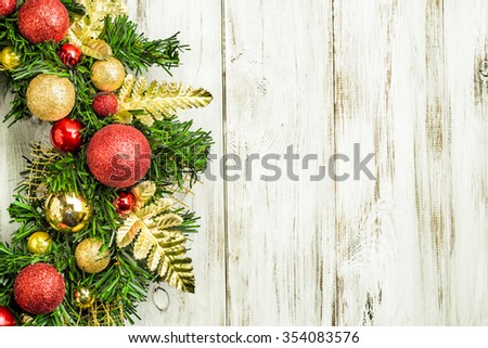 Christmas border from christmas wreath useful as christmas decoration.