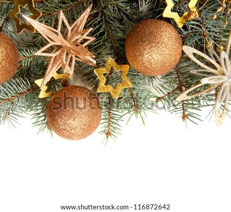 Christmas Border isolated on white - stock photo