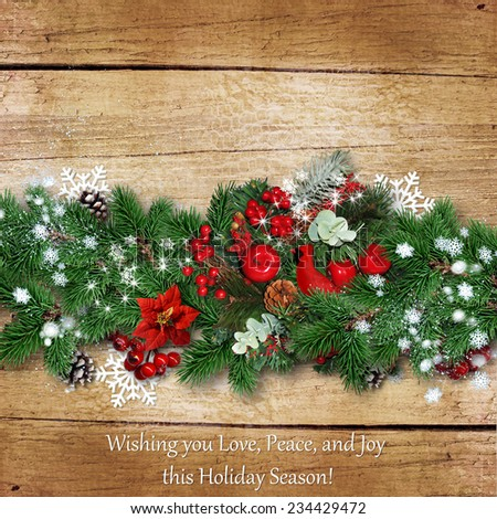 Christmas border on a vintage wooden board with space for text o - stock photo
