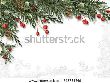 Christmas border with holly isolated on white - stock photo