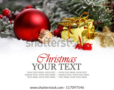 Christmas border with ornament, golden present and snow - stock photo
