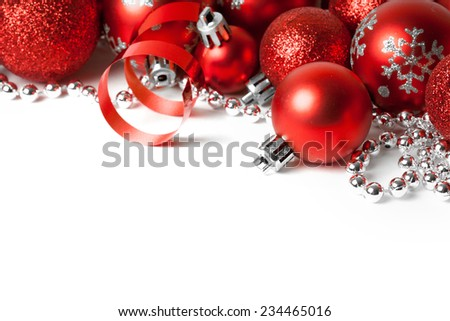 Christmas border with red ornament. Studio shot - stock photo
