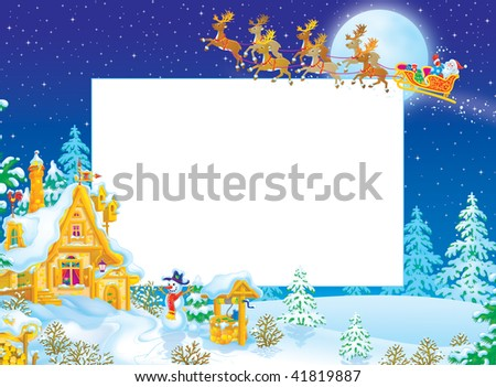 Christmas border with Santa Claus flying in the sledge with reindeers over the snow-covered forest and rural house in Fairyland - stock photo