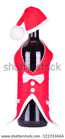 Christmas bottle of wine in a suit of Santa Claus isolated on white background - stock photo